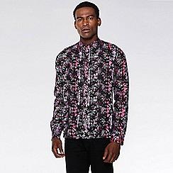 QUIZMAN - Pink and black aztec viscose long sleeve slim fit shirt