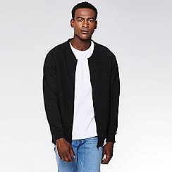 QUIZMAN - Black quilted zip through slim fit bomber jacket