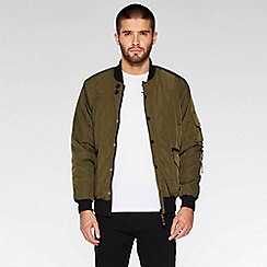 QUIZMAN - Khaki padded slim fit bomber jacket