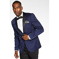 QUIZMAN - Navy all over embroidered regular fit blazer