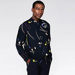 2ac5a29f7bbe QUIZMAN - Navy floral viscose long sleeve slim fit shirt