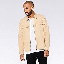 QUIZMAN - Tan zip through slim fit Harrington jacket