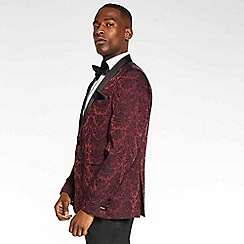 QUIZMAN - Burgundy regular fit blazer with embroidery detail