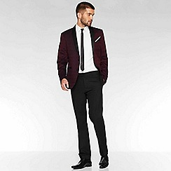 QUIZMAN - Burgundy all over embroidered regular fit blazer