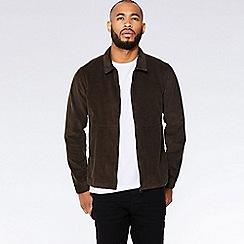 QUIZMAN - Brown cord zip through slim fit harrington jacket