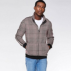 QUIZMAN - Brown check zip through slim fit bomber jacket