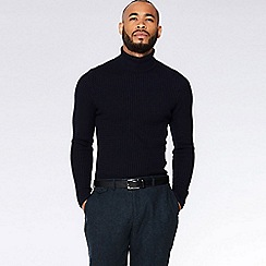 QUIZMAN - Navy cable knit roll neck slim fit jumper
