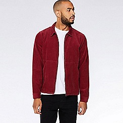 QUIZMAN - Burgundy cord zip through slim fit Harrington jacket