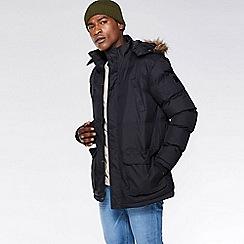 QUIZMAN - Black slim fit parka jacket with faux fur hood