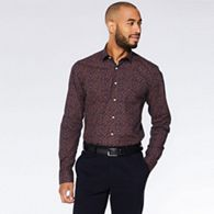 0bb8ae204e81 QUIZMAN Wine and navy floral pattern long sleeve slim fit shirt ...