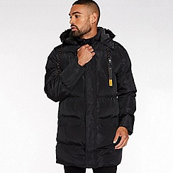 QUIZMAN - Black long faux fur hooded puffer jacket