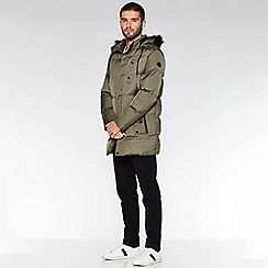 QUIZMAN - Olive long faux fur hooded puffer jacket