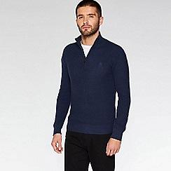 QUIZMAN - Navy 1/2 zip woven jumper