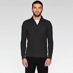QUIZMAN - Charcoal 1/2 zip woven jumper
