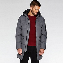 QUIZMAN - Grey long line quilted parka