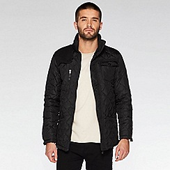 QUIZMAN - Black quilted cord shoulder patch regular fit jacket