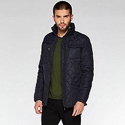 QUIZMAN - Navy quilted cord shoulder patch regular fit jacket