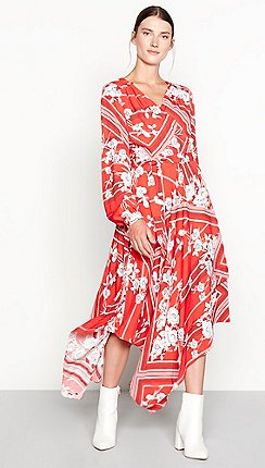 Floral dresses debenhams studio by preen red floral scarf print hi low wrap dress mightylinksfo