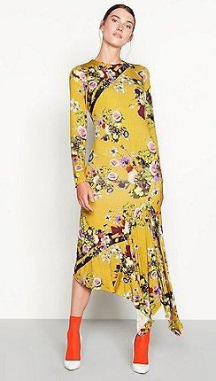 Yellow dresses debenhams studio by preen mustard highland floral print long sleeve midi dress mightylinksfo