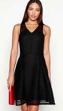 e569b8ce7f2 Star by Julien Macdonald - Black stripe sleeveless mini fit and flare dress