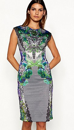 Star By Julien Macdonald Multi Coloured Jewel Print Scuba Dress