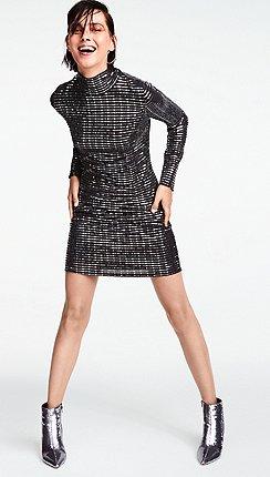 Star By Julien Macdonald Black Sequinned High Neck Mini Dress