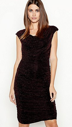Star By Julien Macdonald Red Sparkle Ruched Bodycon Dress