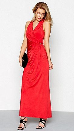 7479909c1a72 Debut - Red jersey  Josephine  v-neck maxi dress