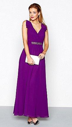 1 Jenny Packham Purple Embellished Chiffon V Neck Evening Dress