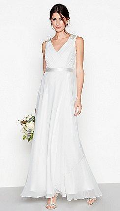 Wedding dresses women debenhams debut ivory chiffon gemima v neck full length wedding dress junglespirit Choice Image