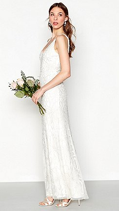Nine By Savannah Miller Ivory Bethany Beaded Sleeveless Full Length Bridal Dress
