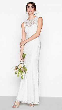Debut Ivory Lace Elaine High Neck Full Length Wedding Dress