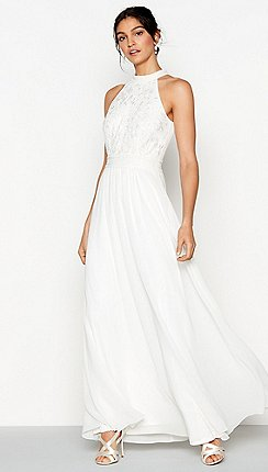 Debut Ivory Chiffon Embroidered Eden Sleeveless Wedding Dress