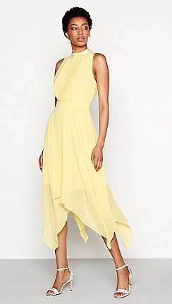 Plus size bridesmaid dresses women debenhams mw by matthew williamson yellow chiffon sequin grace high neck high low evening junglespirit Images