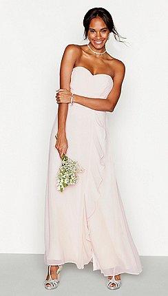 7083344b2b Debut - Pink chiffon 'Sara' full length bridesmaid dress