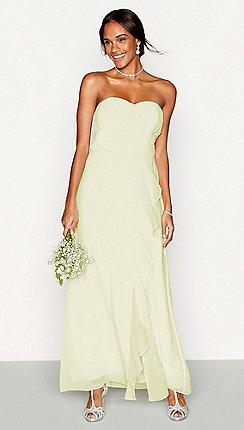 Debut - Pale yellow chiffon  Sara  strapless plus size bridesmaid dress 840ffc1354
