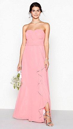 7eb9363fa0 Debut - Coral chiffon 'Sara' strapless bridesmaid dress