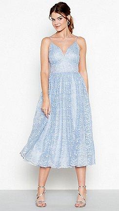 112a46cd9c4 Debut - Light blue 'Madeline' embroidered v-neck midi dress
