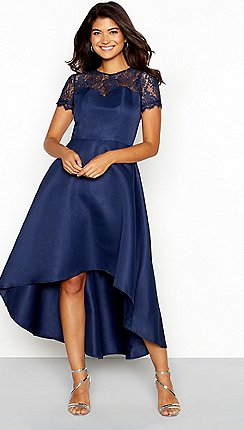 e7881537b753d Chi Chi London - Navy floral lace sweetheart neckline short sleeve high-low  dress