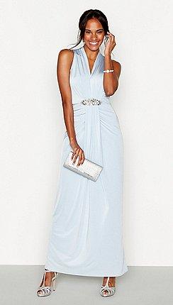 1 Jenny Packham Pale Blue Jersey Jennifer Embellished Maxi Dress
