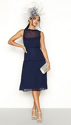 1 Jenny Packham Navy Eugene Chiffon Sleeveless Dress