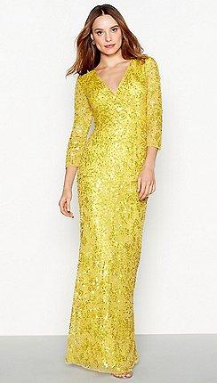 1 Jenny Packham Yellow Sequin Luella V Neck Full Length