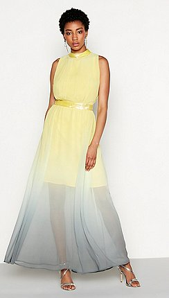 Mw By Matthew Williamson Yellow Ombre Chiffon Orla High Neck Full Length Evening
