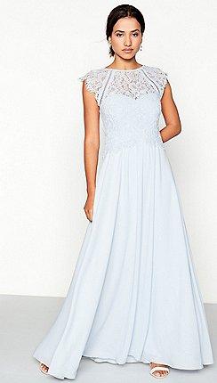 Blue bridesmaid dresses debenhams debut light blue chiffon lace olivia high neck full length dress junglespirit Images