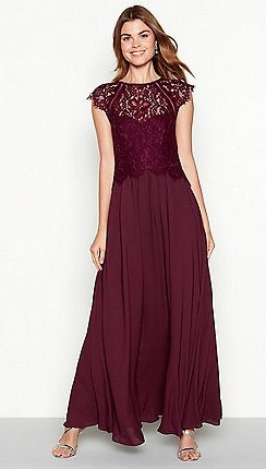 88024524c2d Debut - Dark purple chiffon lace  Olivia  high neck full length dress