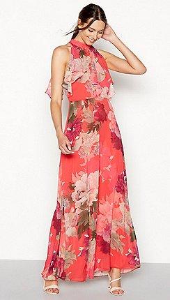 Debut Bright Orange Fl Print Chiffon Maxi Dress