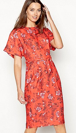 Debut Red Fl Print Knee Length Shift Dress