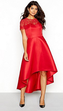 Chi London Red Fl Lace Sweetheart Neckline Short Sleeve High Low Dress