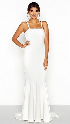 Wedding dresses debenhams chi chi london white bandeau high low fishtail wedding dress junglespirit Image collections