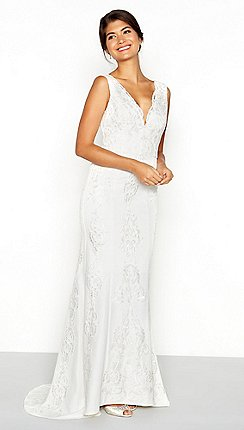 Wedding dresses debenhams chi chi london white floral lace embroidered lavinia v neck high low junglespirit Gallery